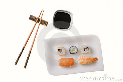 Five sushi rolls and chopsticks