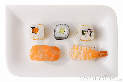 Five sushi rolls on a plate