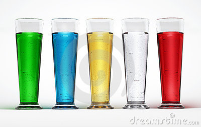 Five tall glasses full of Multicolored liquids.