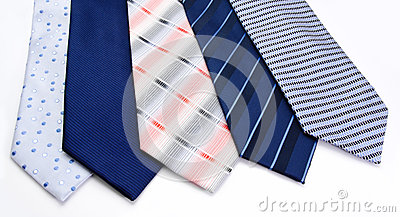 Five ties   on a white