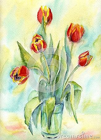 Five tulips.