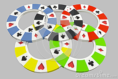 Five types of poker chips olympic circles