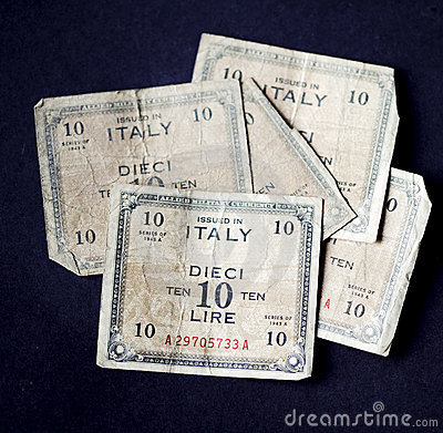 Five very old Italian ten lire banknotes of 1943