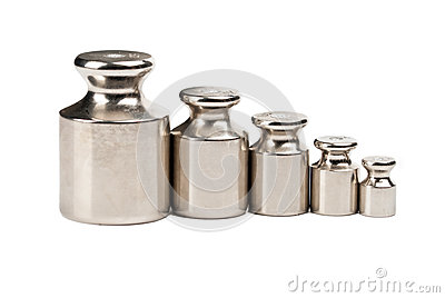 Five weights of various sizes