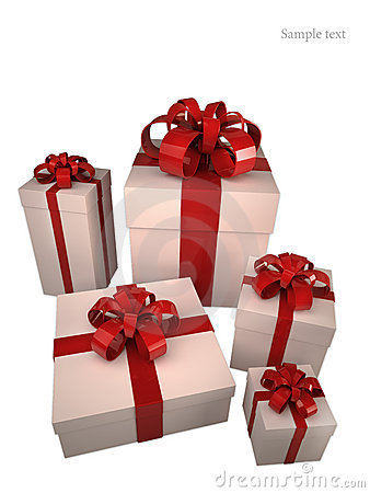 Five white gift boxes with red ribbon