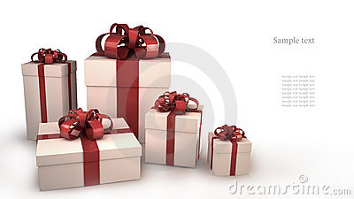Five white gift boxes with ribbons and bows