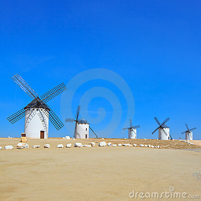 Five windmills. Castile La Mancha, Spain.
