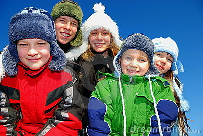 Five winter kids