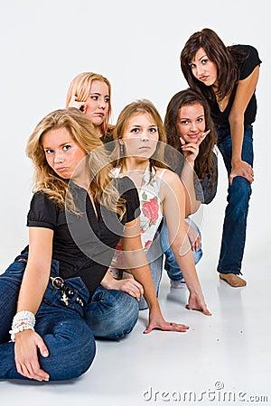 Five women posing