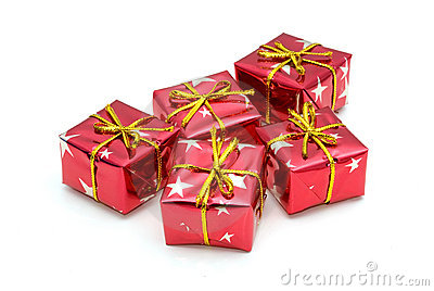 Five wrapped gifts