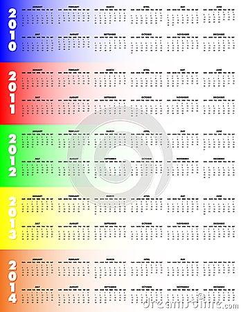 Five-Year Calendar 2010-2014 -