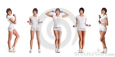 Five young brunette woman training with dumbbells