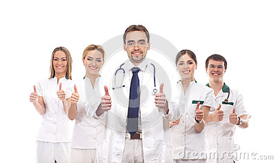 Five young Caucasian medical workers together