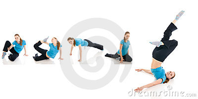 The five young womans doing yoga exercise isolated