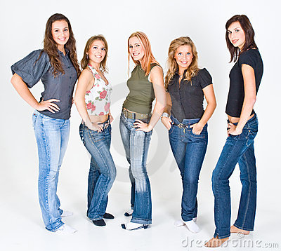 Five Young Women Posing