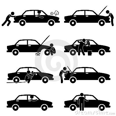 Fix Wash Repair Check Car Tyre Pictogram