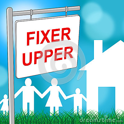 Free Fixer Upper House Shows Buy To Sell And Advertisement Stock Photo - 77637460