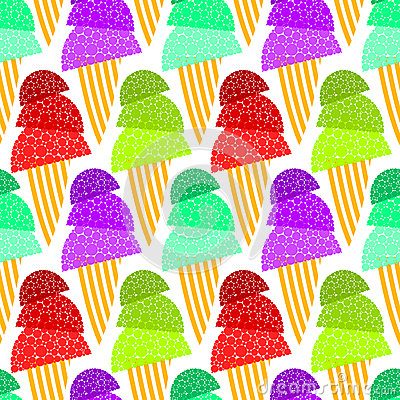 Fizzy Ice Cream Cones Seamless Background
