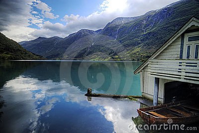 Fjord and boat house.Norway.
