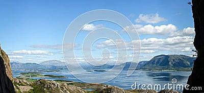 Fjord scenery panorama