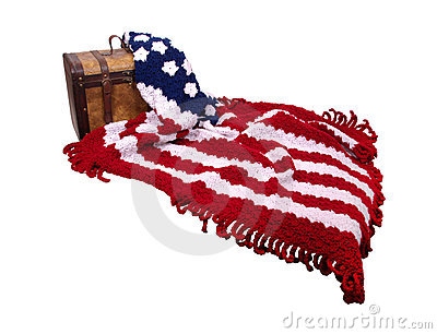 Flag afgan and wooden trunk