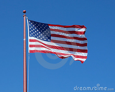 Flag against a clear blue sky