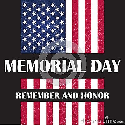 Flag of America to memorial day vector illustration Vector Illustration