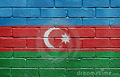 Flag of Azerbaijan on brick wall