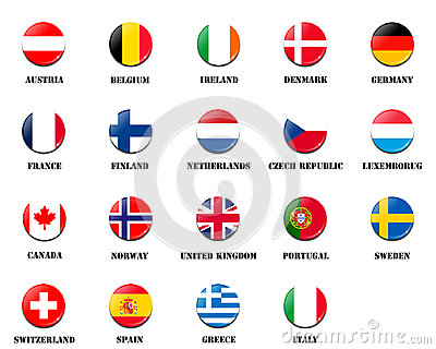 Flag ball of national members of European Space Agency ESA Stock Photo