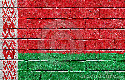 Flag of Belarus on brick wall