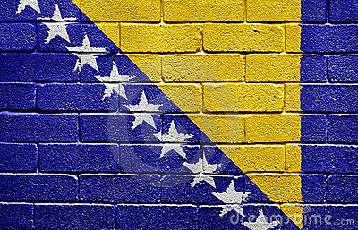 Flag of Bosnia and Herzegovina on brick wall