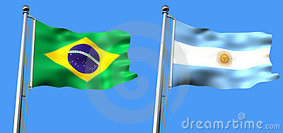 Flag of brazil and argentine