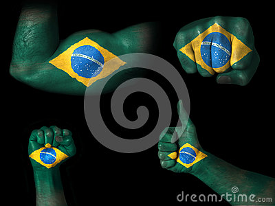 Flag of Brazil painted on body parts
