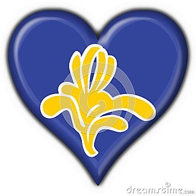 Flag of Brussels (Belgium) heart shape
