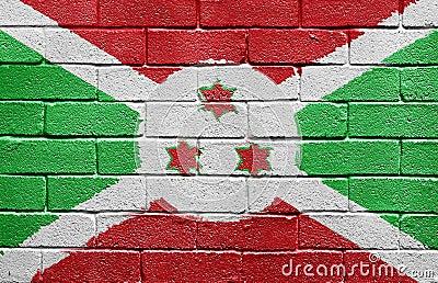 Flag of Burundi on brick wall