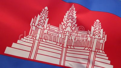 Flag of Cambodia. The national flag of Cambodia was readopted in 1993, after elections returned the monarchy to rule. It features a representation of Angkor Wat stock video footage