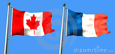 Flag of canada and france