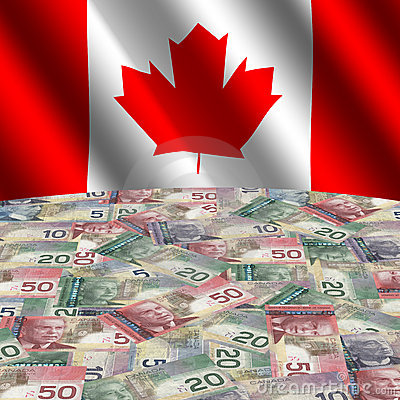 Flag with Canadian dollars
