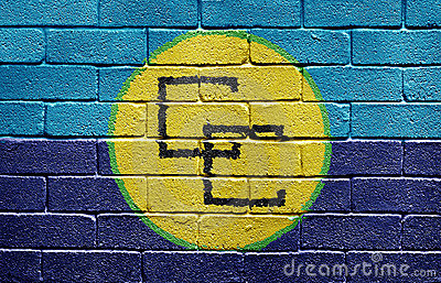 Flag of the Caribbean Community on brick wall