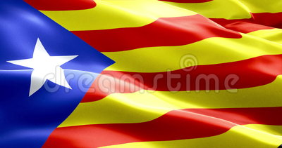 Flag of catalonia yellow and red strip with star waving texture fabric background, national catalan symbol vote for separatism Stock Photo