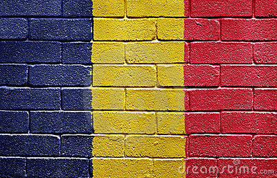 Flag of Chad on brick wall