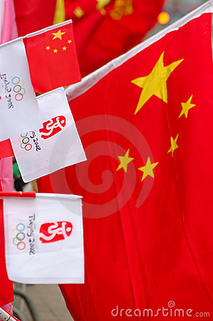 Flag of China and Beijing Olympic Editorial Photo