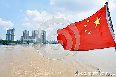 Flag of China on the river, Nanjing