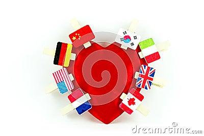 Flag clips on an heart