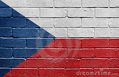 Flag of the Czech Republic on brick wall