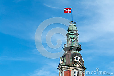 Flag of Denmark up high