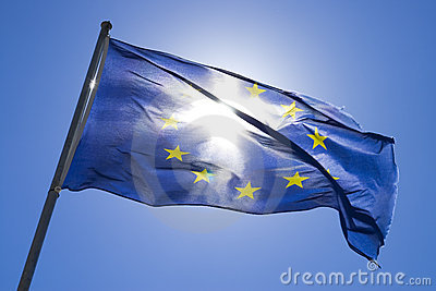 The flag of europe in the wind