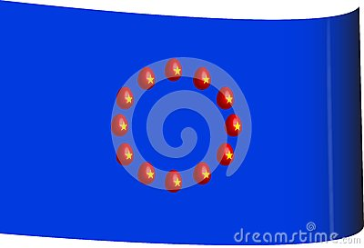 Flag of the european union with 3D eggs