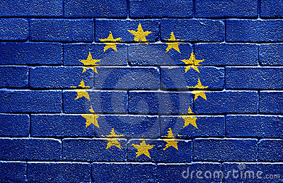 Flag of the European Union on brick wall