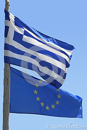 Flag of European union and Greek flag